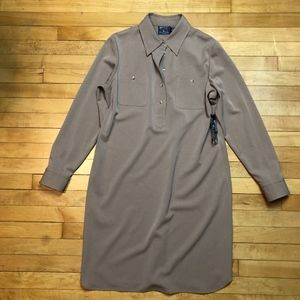 American Living 3/4 Button Front Camel Shirtdress